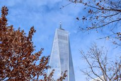 One World Trade Center nell'inverno fotografia stock libera da diritti