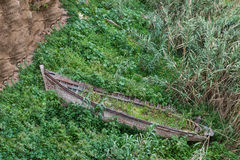 One wreck wooden boat strand in the bush in Rabat Royalty Free Stock Image