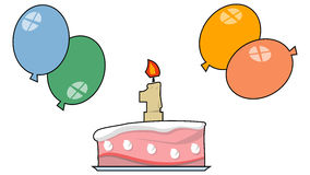 One Year Aniversary. Vector cake and balloons for a one year party Royalty Free Stock Image