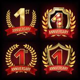 One Year Anniversary Banner Set Vector. 1 Age Sign. One, First Celebration. Shining Gold Sign. Number One. Laurel Wreath Royalty Free Stock Photography