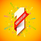 One year anniversary card. One year anniversary celebration card design stock illustration