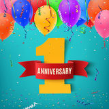 One year anniversary celebration background. One year anniversary celebration background with red ribbon confetti and balloons. Anniversary ribbon. Anniversary Royalty Free Stock Image