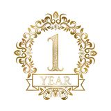 One year anniversary celebration golden vintage logotype. First anniversary gold label in floral wreath with a ribbon.  royalty free illustration