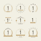 One year anniversary celebration logotype. 1st anniversary logo collection. Royalty Free Stock Photos