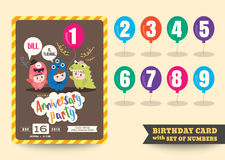 One year anniversary kids birthday celebration template Royalty Free Stock Photography