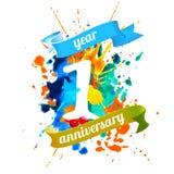 One year anniversary. Splash paint. One year anniversary. Vector watercolor splash paint Royalty Free Stock Photos