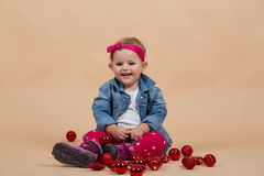 One year baby portrait. Portrait of young cute baby on beige background royalty free stock photos