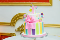 One year birthday-cake. For a little girl Royalty Free Stock Images