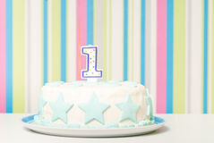 One year birthday cake on the plate Stock Photos