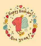 One year birthday card color Royalty Free Stock Images