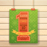 One year Birthday invitation card on wood background. Stock Image