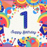 One 1 year birthday party greeting card number. Happy Birthday first 1 one year fun design with number, text label and colorful decoration. Ideal for party royalty free illustration