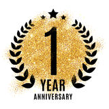 One year golden anniversary sign. Gold glitter celebration. Light bright symbol for event, invitation, award, ceremony, greeting. Laurel and star emblem Royalty Free Stock Images