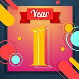 One year icon. One year anniversary logo template with red ribbon vector color swsign template Royalty Free Stock Images