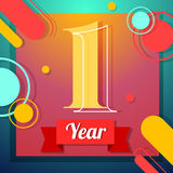 One year icon. One year anniversary logo template with red ribbon vector color swsign template Stock Image