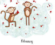 One year in the life of a monkey Lulu. Monkey Lulu on a date on Valentine's Day with his girlfriend Royalty Free Stock Images