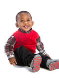 One Year Old Adorable African American Boy Portrait on Isolated Stock Photography