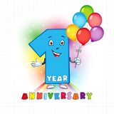 1 anniversary funny logo. One year old animated logotype. Kids birthday colored card with personified digit and many bright celebrating congratulating balloons Stock Illustration