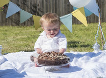 One year old baby boy chocolate cake smash Stock Image