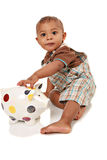 One Year Old Baby Boy Playing Piggy Bank Stock Image
