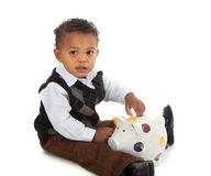 One Year Old Baby Boy Playing Piggy Bank Royalty Free Stock Photos