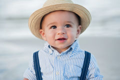 One Year Old Baby Boy with Straw Fedora Hat Royalty Free Stock Images