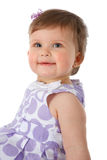 One Year Old Baby Girl Sitting on Floor Smiling Stock Image