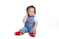 One year old baby with mobile phone  Royalty Free Stock Photos