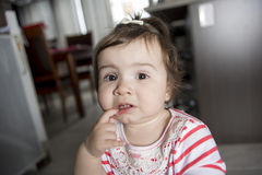 One year old baby toothache Royalty Free Stock Photos