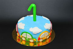 One year old birhtday celebration cake Royalty Free Stock Images