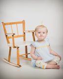 One Year Old Birthday Portraits With Rocking Chair Royalty Free Stock Image