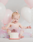 One Year Old Birthday Portraits With Smash Cake Royalty Free Stock Photos