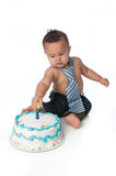 One Year Old Boy with Birthday Cake Stock Photo