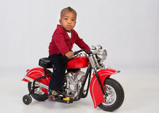 One Year Old Boy Riding Motorbike Royalty Free Stock Images