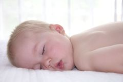 One year old boy is sleeping Stock Photo