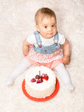 One Year Old and a Cake Stock Image