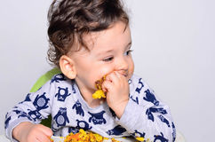 One year old kid eating a slice of birthday smash cake by himself. Stock Photography