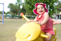 One Year Old Little Baby Girl Playing At Playground Outdoors Royalty Free Stock Photography