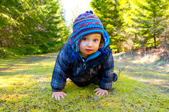 One Year Old Playing and Hiking Royalty Free Stock Photography