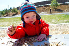 One Year Old Playing at Park Stock Photo