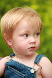 One year old strawberry blond boy. Adorable toddler dressed in bluejeans overalls looks away from the camera with an intense look royalty free stock images