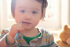 Toddler boy brushing his teeth stock photos
