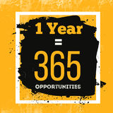 One Year is 365 Opportunities. Inspiring Motivation Quote about Possibilities. Vector Typography Concept On Grunge Stock Photo