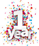 One year paper confetti sign. Royalty Free Stock Images