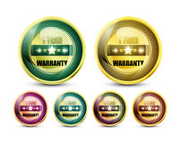 One Year Warranty. Colorful One Year Warranty Button Set Stock Illustration