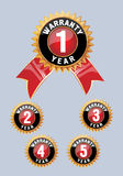 One year warranty icon isolated. Warranty seal with ribbon royalty free illustration