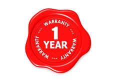 One year warranty seal. A   rendered artwork with white background Royalty Free Stock Image