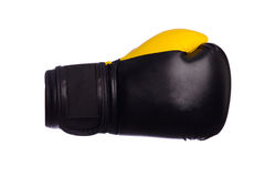 One Yellow boxing mitts on a white background stock images