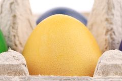 One yellow easter egg at cardboard Stock Photo