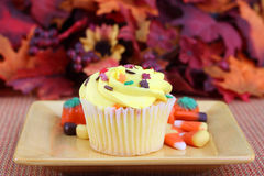 One yellow fall decorated cupcake Royalty Free Stock Image